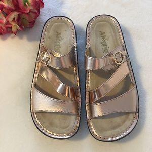 Alegria Colette Rose Gold Mirror Slides Sandals